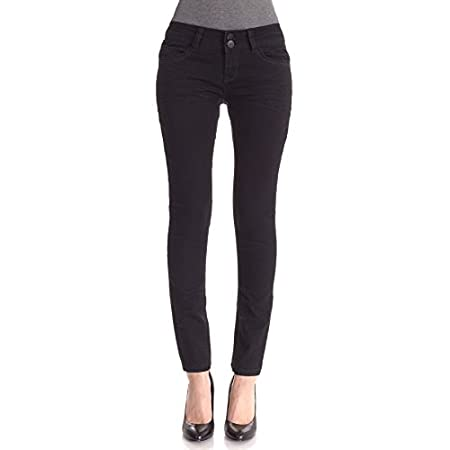 "These Luscious Curvy Skinny Jeans feature a double button closure. Contoured waistband to prevent gapping while creating a slim silhouette. The 28"" inseam flatters our petite girls."