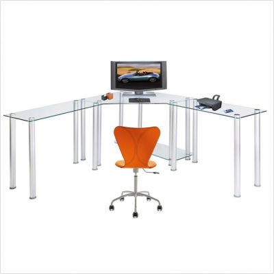 Picture of Comfortable RTA Home and Office Clear Tempered Glass L-Shape Corner Computer and Laptop Desk (B001YKHI0A) (Computer Desks)