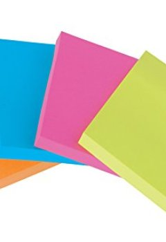 Livres Couvertures de Post-it Super Sticky Lot de 24 Blocs de Notes repositionnables 76 x 76 mm Néon