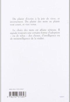 Livres Couvertures de Le choix des mots. suivi de La joie et son paradoxe