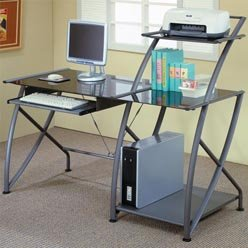 Picture of Comfortable Desks Contemporary Single Pedestal Computer Desk by Coaster (B0051PEEUQ) (Computer Desks)