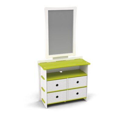 Image of Legare Kids Dresser and Mirror Set in Green and White (DRGM-122 / MRWM-112)