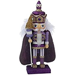 "10"" Hollywood Lilac, Gold and Purple Decorative Wooden King Christmas Nutcracker Table Top Decoration"