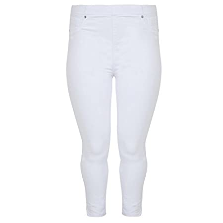 Plus size white denim cropped jeggins. Have two pockets details to the front including one coin pocket and two functioning patch pockets to the back. Has stitch detailing, and an elasticated waist band. Wear with a basic t-shirt for a casual daytime ...