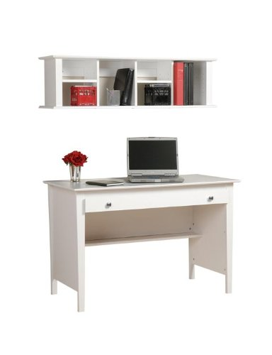 Picture of Comfortable White Contemporary Computer Desk with Wall Hutch JWA106 (B004GEUKL0) (Computer Desks)