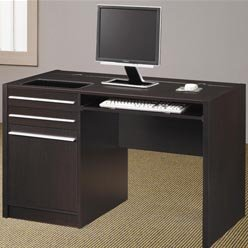 Picture of Comfortable Ontario Contemporary Single Pedestal Computer Desk with Charging Station by Coaster (B0051PEBTA) (Computer Desks)