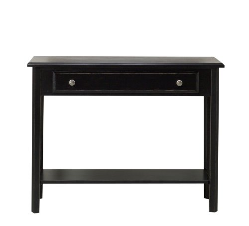 Image of Entryway Console Sofa Table with Drawer in Black Matte Distressed Finish (VF_AZ00-52510x26181)