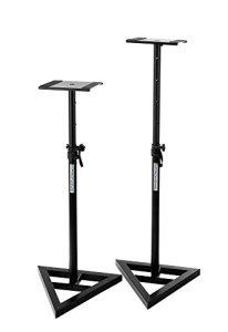 Paar-Pronomic-SLS-10-Stativ-fr-Studio-Monitor-Stnder-hhenverstellbar-von-80-cm-bis-130-cm-stabile-Dreiecksbasis-Gummife-und-Dornenfe-Spikes-Sicherheitssplint-Stahl-Trgerplatte-mit-Gummistreifen-schwar