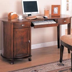 Picture of Comfortable Riverland Kidney Shaped Single Pedestal Computer Desk by Coaster (B0051PDXGM) (Computer Desks)