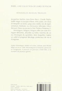 Livres Couvertures de Monologues, bilogues, trilogues