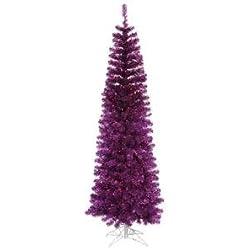 Vickerman Colorful Pencil Purple Christmas Tree with 300 Purple Mini Lights, 6.5-Feet