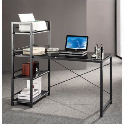 Picture of Comfortable Mad Tech 47.5x25x49 Grey Glass Panel & Steel Frame Computer Office Desk Table (B004W0MIV8) (Computer Desks)
