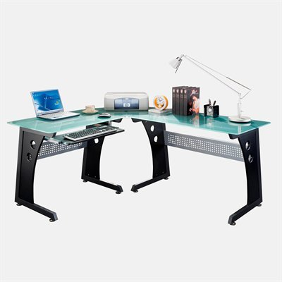 Picture of Comfortable Mad Tech 29.5x54.5x64.5 Graphite Glass Panel & Steel Frame Computer Office Desk Table (B004W0MJ80) (Computer Desks)