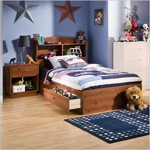 Image of South Shore Logik Kids Sunny Pine Twin Wood Mates Storage Bed 3 Piece Bedroom Set (3342213-3PKG)