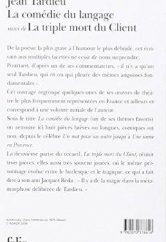 Livres Couvertures de La comédie du langage. (suivi de) La triple mort du client