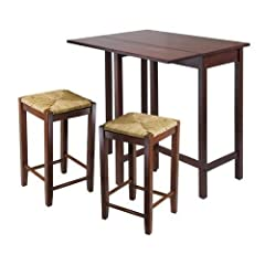 Winsome 3pc Lynwood Modern Drop Leaf Wood Table With Rush Seat Stool