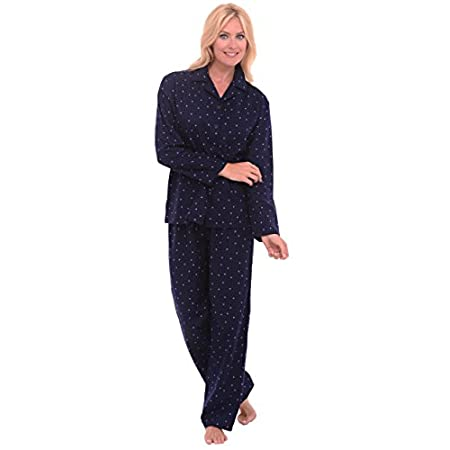Women's 100% cotton flannel pajama set from Alexander Del Rossa. The button-down top features a collar and long sleeves for warmth and comfort. The pants feature an elastic waistband and a drawstring enclosure for a relaxed fit. Choose your favorite ...