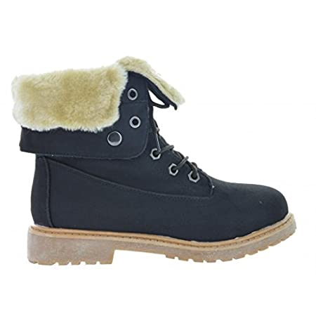 Keep you feet covered in stylish warmth with Dream Pairs lace up boots. This boot features faux suede upper, fur lining, and a comfortable low rubber heel. Wear this boot in winter with skinny jean for a fantastically hip look, and cozy feet. FULL SI...