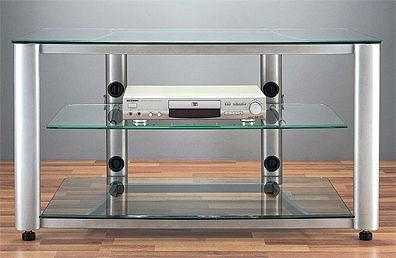 Image of VTI HGR Series 42 inch Wide, 3 Shelf Audio Video Rack TV Stand with Glass Shelves HGR403S (Silver) (HGR403S)