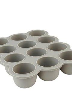 Livres Couvertures de 12 Set Pots de Conservation Moule en Silicone Repas pour Bébé convient pour Congélation Sans BPA Approuvé par FDA – Disponible sur Amazon- couvercle commun inclus - gris