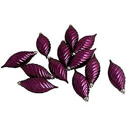 "Vickerman Club Purple Passion Shatterproof Finial Christmas Ornaments, 12 Pack, 4.75"""