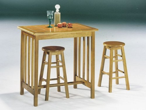 Image of Mission Oak Terra Cotta 3Pc Breakfast Tile Top Bar Set (VF_AZ01-10820)