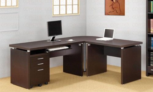 Picture of Comfortable L-Shaped Computer Desk in Cappuccino Finish (B002OVL854) (Computer Desks)