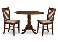 3 Pc Round Table With Drop Leaf And 2 Upholstered Seat Chairs