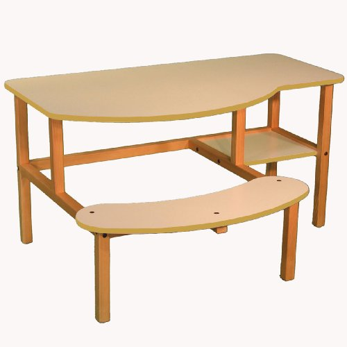 Picture of Comfortable Wild Zoo Furniture B-D WHT-TAN-WZ Grade School Buddy Computer Desk in White with Tan Trim (B0027AIN6Y) (Computer Desks)