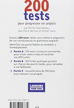 Livres Couvertures de 200 tests Anglais