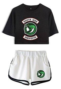 Livres Couvertures de ZIGJOY Riverdale Crop Top T-Shirts et Shorts Vêtements Costume pour Les Filles et Les Femmes