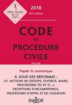 Livres Couvertures de Code de procédure civile 2018, annoté - 109e éd.