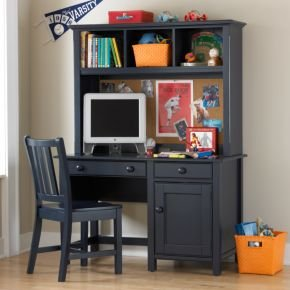 Image of Kids Dressers: Kids Navy Blue Walden Desk & Hutch (B004KZHN1A)