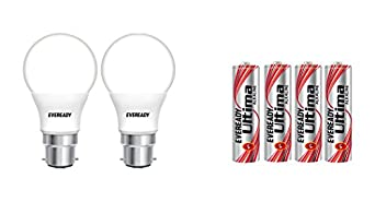 Eveready Base LED Bulb Pack of 2 with Free 4 AAA Alkaline Batteries 9W @Rs.359, 12W @Rs.499, 14W @Rs.549