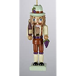 "4"" Tuscan Winery Wooden Nutcracker with Purple Grape Cluster Christmas Ornament"