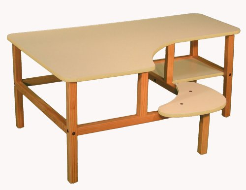 Picture of Comfortable Wild Zoo Furniture P-C WHT-TAN-WZ Pre-School Computer Desk in White with Tan Trim (B0028A7BY8) (Computer Desks)