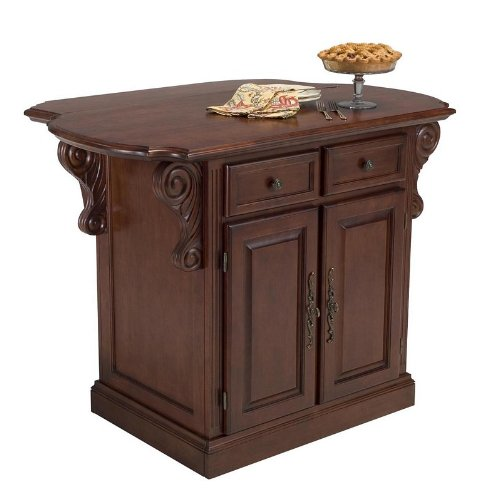 Image of Kitchen Island with Drop Leaf in Cherry Finish (VF_HY-5005-94)