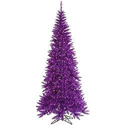 """Vickerman 439869 - 90"""" Purple Slim Fir Tree with 500 Purple Lights Christmas Tree (K163076)"""
