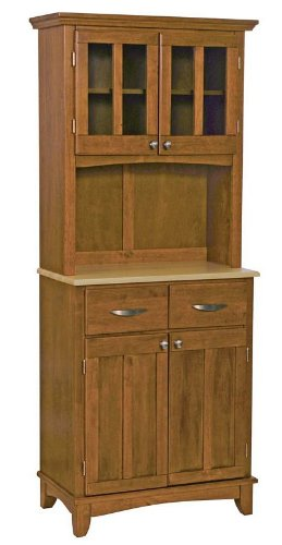 Image of Buffet Hutch with Natural Wood Top in Cottage Oak Finish (VF_HY-5001-0061-62)