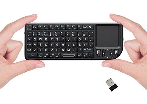 FAVI FE01 2.4GHz Wireless USB Mini Keyboard w Mouse Touchpad, Laser Pointer - US Version (Includes Warranty) - Black (FE01-BL)