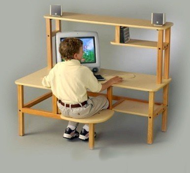Picture of Comfortable Wild Zoo Furniture P-C MPL-TAN-WZ Pre-School Computer Desk in Maple with Tan Trim (B0029KYTT2) (Computer Desks)