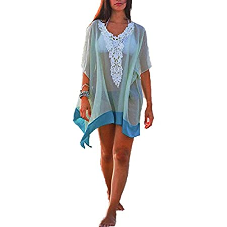 Material: Chiffon LaceType: BlouseColor: BluePackage include: 1 BlouseFeature: Womens Chiffon Lace Batwing Sleeve V-Neck Tops Swimwear Beach Sun T-Shirt Dress Mantillas. Have 5 Sizes.Our tag sizes are Asian sizes.please check your measurements with o...