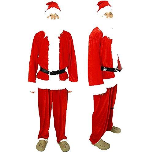 【ノーブランド品】 メンズ サンタクロース DX 5点セット《クリスマスサンタコスチューム☆コスプレ衣装》