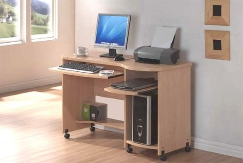 Picture of Comfortable Shelly Maple Finish Home Office Computer Desk with Castors (B001LV4Z4Y) (Computer Desks)