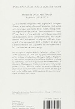 Livres Couvertures de Histoire d'un Allemand : Souvenirs 1914-1933