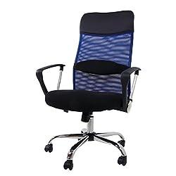 MR-STOREハイバックオフィスチェア 着脱可能腰クッション付き 上下左右可動式 メッシュタイプ ブルー