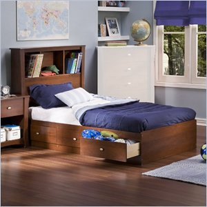 Image of South Shore Mika Classic Cherry Kids Twin Wood Bookcase Bed 4 Piece Bedroom Set (3268212-4PKG)