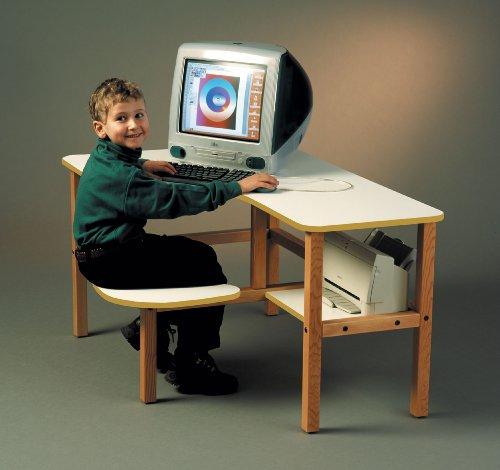 Picture of Comfortable Wild Zoo Furniture GRD WHT-TAN-WZ Grade School Computer Desk in White with Tan Trim (B0027AIMSS) (Computer Desks)