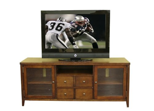 Image of Entertainment TV Stand Console Table - Dark Oak Finish (VF_WI-88641-RUSTIC)