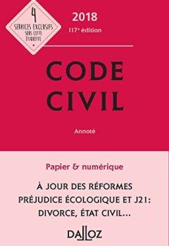 Livres Couvertures de Code civil 2018, annoté - 117e éd.